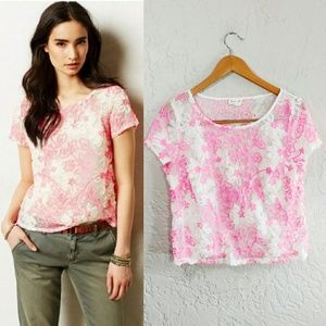 Meadow Rue {Anthropologie} Mesh Cherry Blossom Top